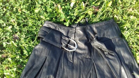 Genuine Black Leather Skirt,Vintage Black Long Sk… - image 6
