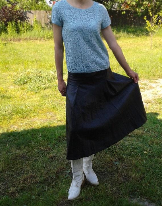 Genuine Black Leather Skirt,Vintage Black Long Sk… - image 3