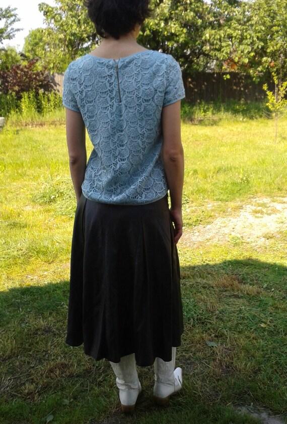 Genuine Black Leather Skirt,Vintage Black Long Sk… - image 5