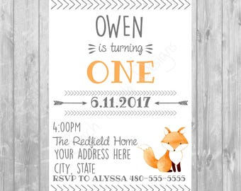 Woodland Fox Birthday Invitation - Digital