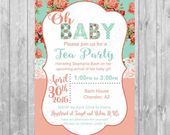 Mint & Coral Baby Shower Invitation - Digital