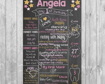 Pink and Gold Chalkboard Poster - Digital