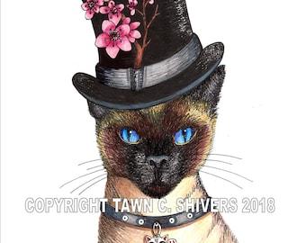 Cat Art, Siamese Cat Portrait, Art Print