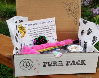 PURR PACK   Cat and Kitten Gift Box Full of Treats, Toys and Organic Catnip