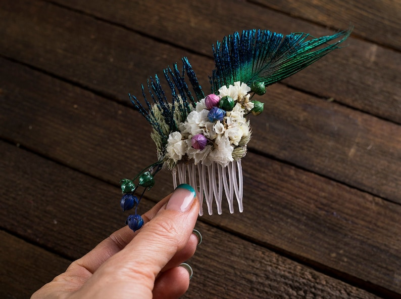 Floral Hair Comb feather mini bridal bridesmaid dried flower Hair accessories woodland rustic wedding peacock feather personalized combs
