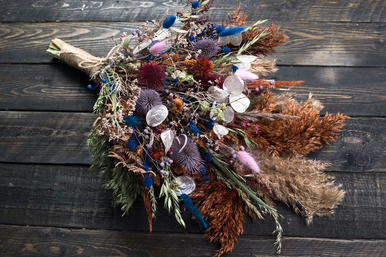 Reserv for Kelly Dried flower thistle bouquet fall rustic wedding with pampas grass and lunaria mauve blue burnt orange wedding bouquet