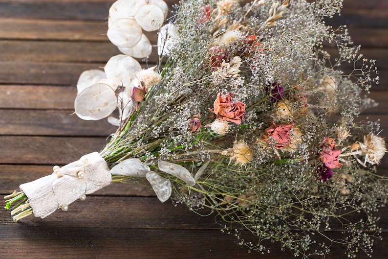 Dried flower thistle rose bouquet with dried lunaria babybreath flowers dried flower arrangement rustic home decor rustic wedding