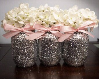 3 glitter mason jars pink ribbon centerpiece decoration baby shower centerpieces bridal shower centerpieces