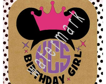 Monogram Minnie SVG - Disney vacation shirts - Disney svg - silhouette cameo cricut - Disney Minnie Ears monogram BIRTHDAY girl