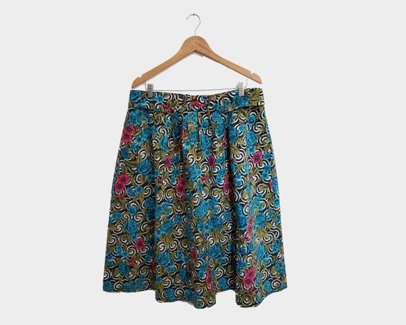 Vintage Printed Skirt | 1960's-80's | Plus size