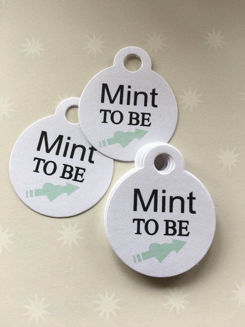 Set of 20 Mint Green Wedding Tags Small Personalized Mint to Be Tags