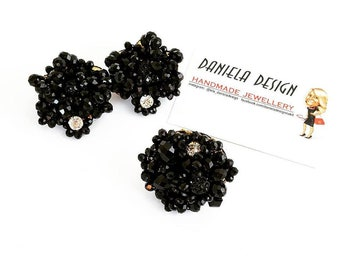 Black crystals earrings and ring