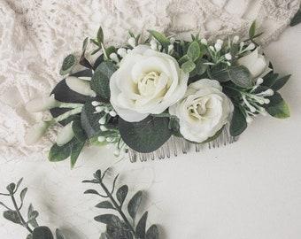 Wedding hair flower etsy flower hair comb wedding hair flower headpiece white floral hair comb greenery bridal comb rose blossom hair piece bridesmaid hair accessory mightylinksfo