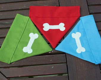 Handmade Dog Bandana/Neckerchief with bone applique. Made to order in different colours and sizes.
