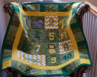 Handmade Child's quilt 'On Safari'