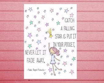A6 Postcard Art Print- Catch a Falling Star- cute, happy, quirky greetings card