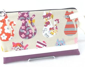 checkbook, coin purse purple cat
