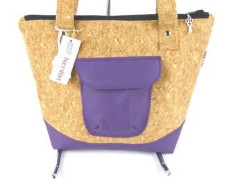 faux Cork faux Purple Leather shoulder bag.