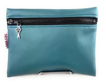 Make-up kit, shiny blue bag flat clutch