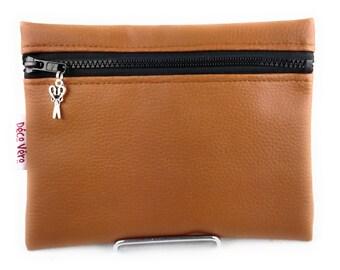 Make-up kit, flat caramel brown bag pouch