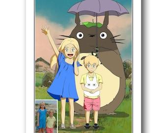 Kids custom portrait studio Ghibli style My Neighbour Totoro custom portrait kids portrait Miyazaki style personalized art Anime portrait