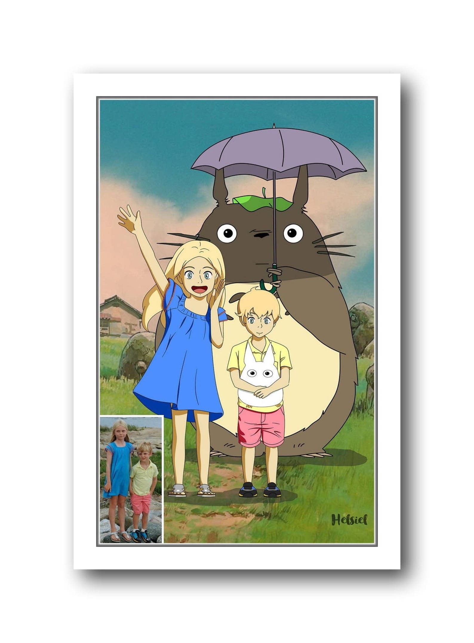custom portrait studio Ghibli style My Neighbour Totoro custom portrait kids portrait Miyazaki style personalized art Anime portrait