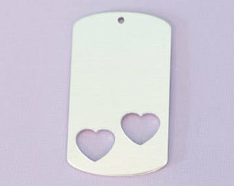 """Dogtag 1.92"""" (48.76mm) with Two Heart Cutouts - Aluminum Stamping Blanks  - Metal Stamping Blanks - 14g - #47"""