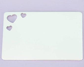 """2.125"""" (48.76mm) Wallet Insert with Hearts - Aluminum Stamping Blanks - Metal Stamping Blanks - 14g - #151"""