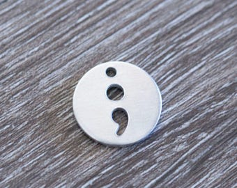 """5/8"""" (15.87mm)  Round with Semicolon Cutout  - Aluminum Stamping Blanks - Metal Stamping Blanks - 14g - #179"""