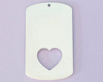 """Large 1.92"""" (48.76mm) Dogtag with Bottom Heart Cutout - Aluminum Stamping Blanks  - Metal Stamping Blanks - 14g - #44"""