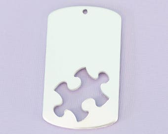 """Large 1.92"""" (48.76mm) Dogtag with Puzzle Cutout - Aluminum Stamping Blanks - Metal Stamping Blanks - 14g - #150"""