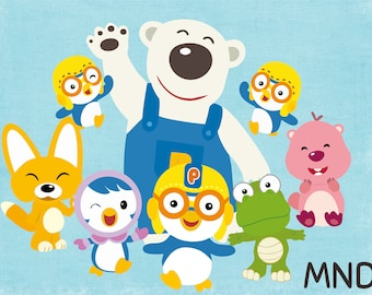 Pororo & Friends clipart centerpiece birthday party