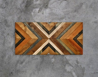 Wood Wall Art, Reclaimed Wood Wall Art, Geometric Wood Art, Mosaic Wood Art, Wall Panel, Wall Art, Wall Decor