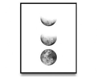 Moon Phase Print Lunar Phases Poster Wall Art Printable