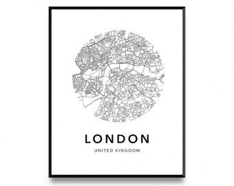 London Map Poster Of City Print Wall Art Printable