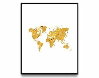 World Map Print, World Gold Print, World Map Wall Art, World Map Poster, World Printable Map, Large World Map, World Map Posters, World Map