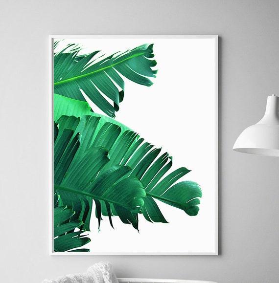 banana leaf art printable leaf palm palm leaf wall decor etsy