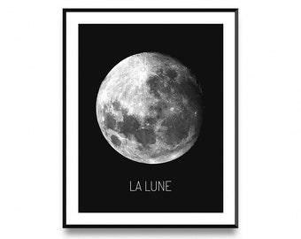 Moon print, lunar print, moon poster, la lune, la lune poster, la lune print, la lune wall art, moon art, printable art, art print