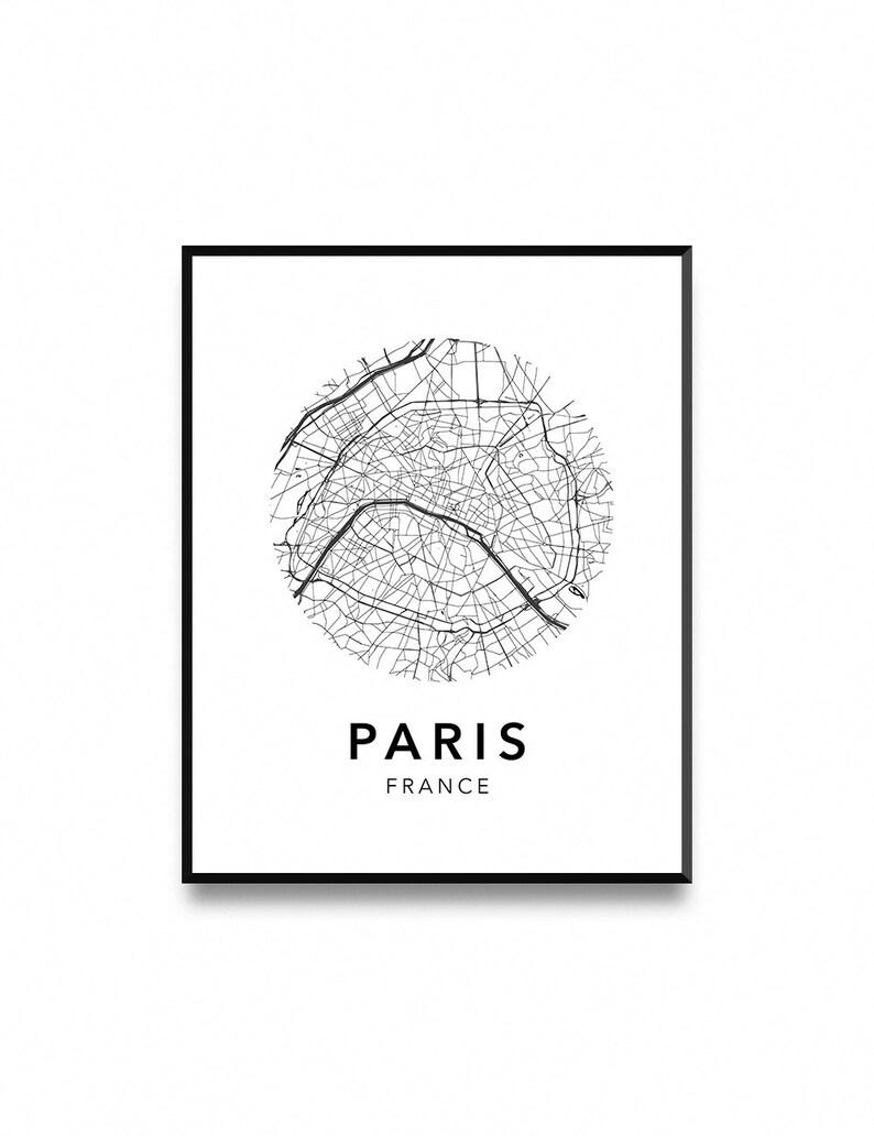 Paris Map Poster Map Of Paris Poster Paris Map Paris City Etsy