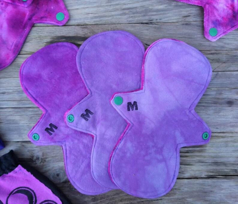 Moon Pack Set of 9 Reusable Menstrual Cloth Pads Eco-friendly Organic Bamboo Velour handmade moon pads tie dye