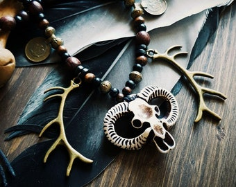 Tribal Huntress Necklace: skull and antlers pendants, coins, wooden and brass beads