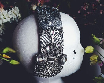 Tribal Fusion Gothic Headpiece in Black and Silver decorated with sequins and rhinestones