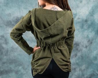Women Jacket with hood~asymmetric Hoodie~Earthy Alternative clothing~Goa  Psy trance Wear Clothing~Goa Festival~Gypsy Hippie Tribal Clothing 1bd05568e