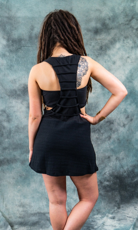 Knitted Short Dress~Tank Dress ~Earthy Alternative clothing~Goa Psy trance Wear Clothing~Goa Festival~Gypsy Hippie Tribal Clothing~YamunaArt