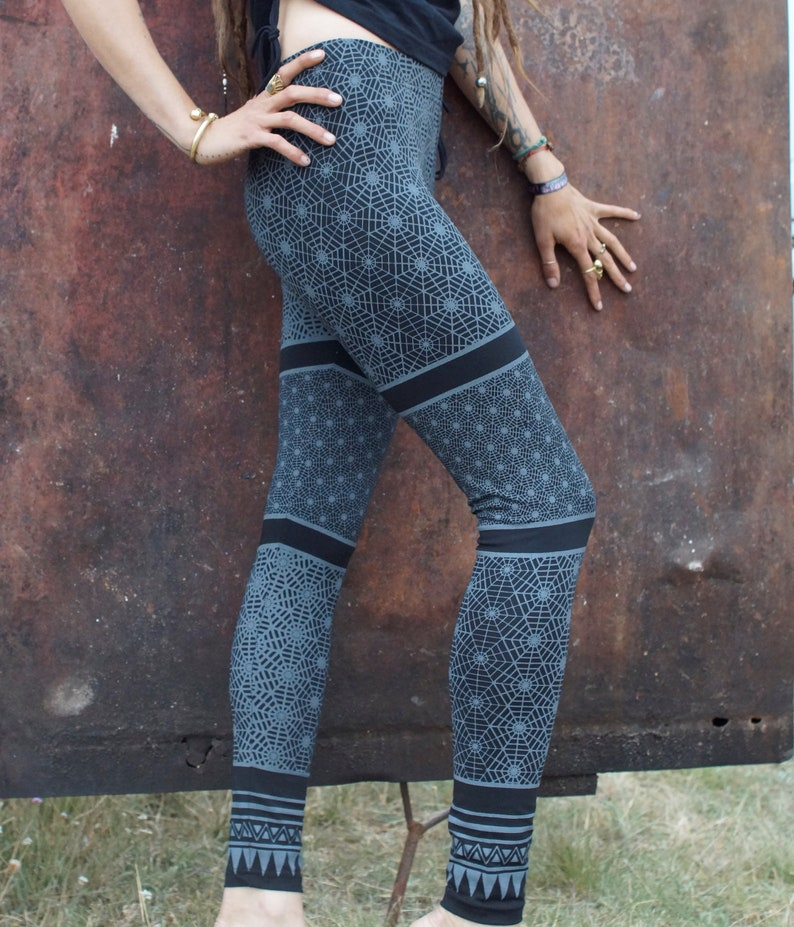 Printed Tribal Leggings Geometric~Yoga Legging~Earthy Alternative clothing~Goa Psy trance Leggings~Festival~Gypsy Hippie Tribal Clothing~Goa