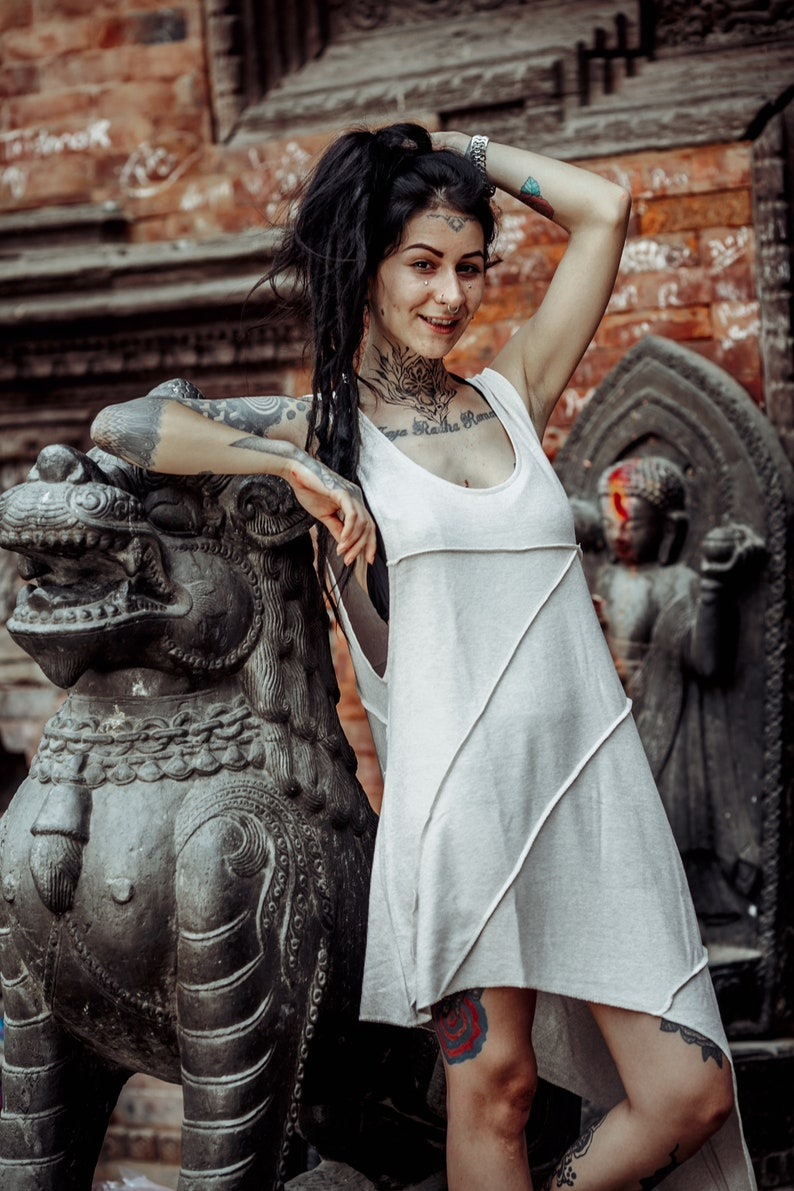 Short Patchwork Dress~Asymmetric~Earthy Alternative clothing~Goa Psy trance Clothing~Goa Festival~Goa Gypsy Hippie Tribal Clothing~YamunaArt