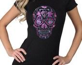 O-Neck Women 39 s Purple Pink Rhinestone Gothic Sugar Skull Dia De Los Muertos T-Shirt