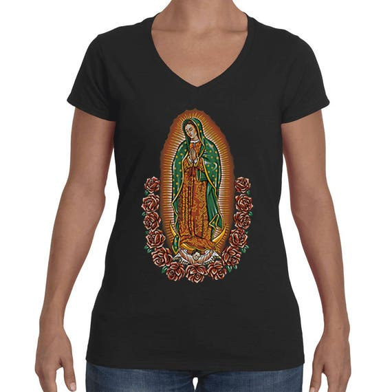 V-Neck Women/'s Madonna Our Lady Of Guadalupe Mother Virgin Mary T-Shirt