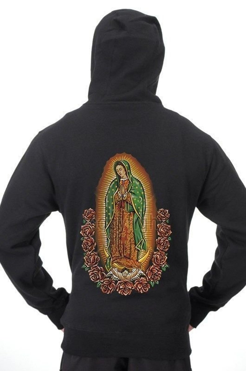 Women/'s The Madonna Our Lady Of Guadalupe Virgin Mary Black Zip Up Zipper  Hoodie