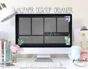 Chalkboard | Cactus| Desktop walpaper organizer | desktop planner | Digital Desktop Background | Wallpaper Planner | Computer